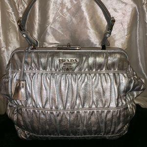 Prada Nappa Leather Gaufre Bowler Silver Bag.